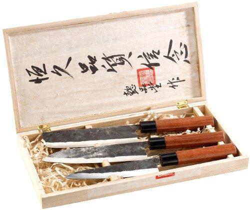 TokioKitchenWare Messer: 3-teiliges Messerset, handgefertigt, mit Echtholzgriff (Chinesische Messer)
