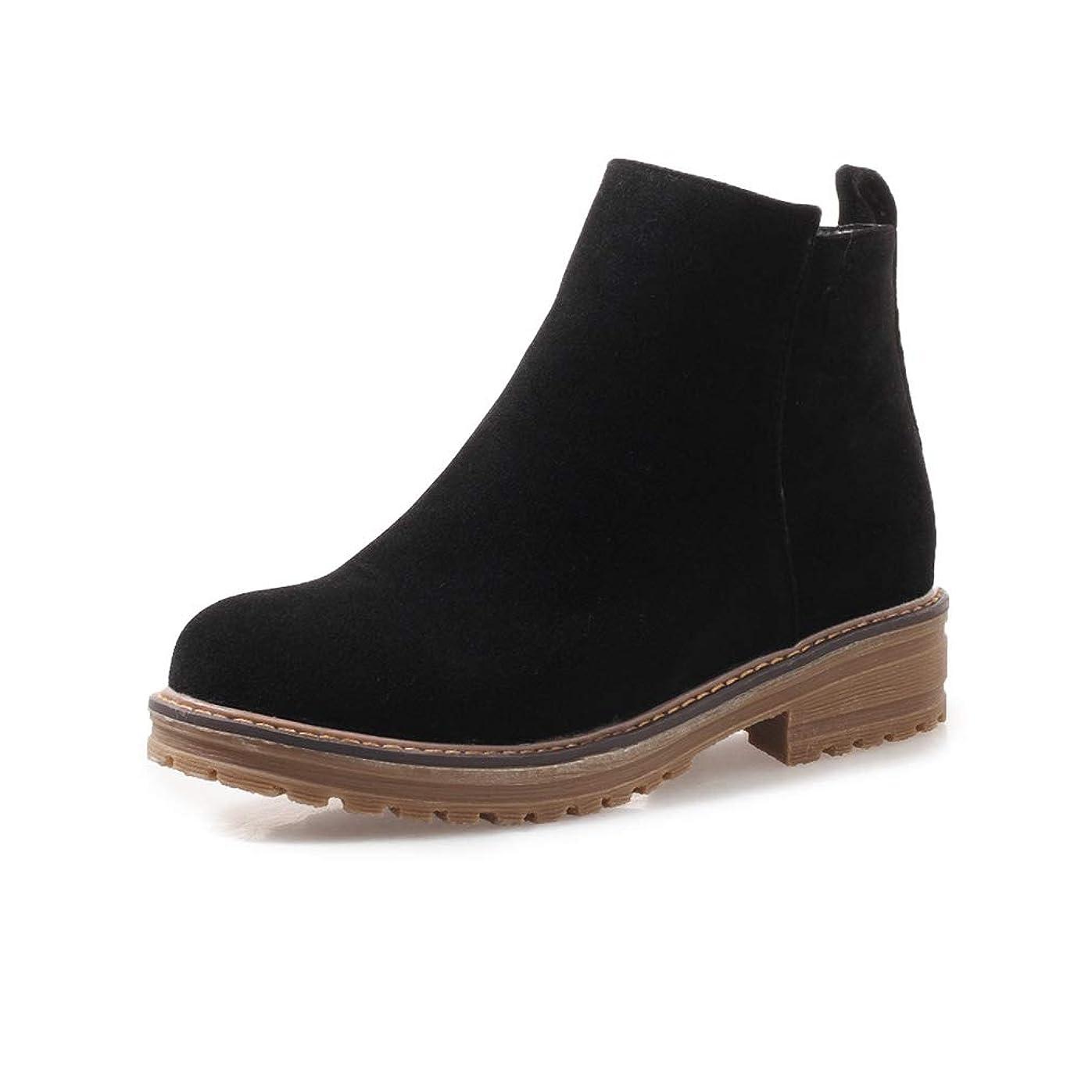 資料アルミニウム受取人[ノーブランド品] [QIFENGDIANZ]レディースブーツ アンクルブーツ 大きいサイズ 歩きやすい 秋冬靴 防寒 防滑 つま先丸い 厚底 ヒール ショートブーツ 美脚 かわいい 通学 通勤 アウトドア