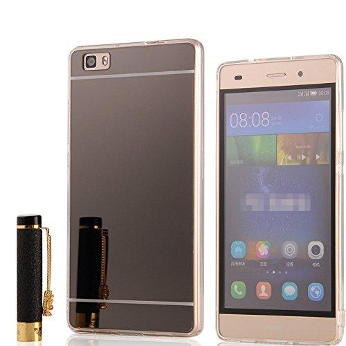 Huawei P8 lite Cover, LXHGrowH Custodia a Specchio per Huawei P8 lite Gel Silicone Custodia Bumper Custodia Cellulare Cover Case Protettiva in Nero