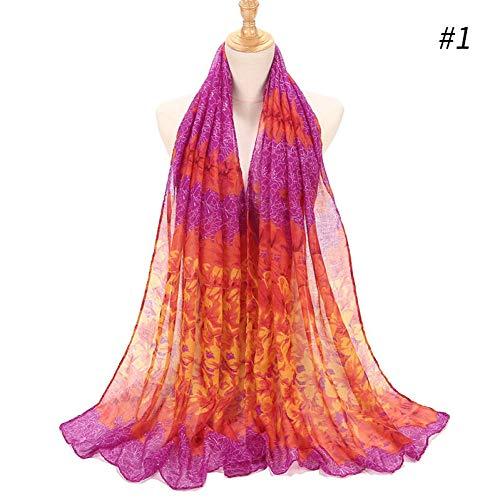 MYTJG Lady sjaal vrouwen zachte bloemen gedrukt sjaal katoen sjaal Plain Wrap elegante hoofdband linnen Hijabs sjaals poncho