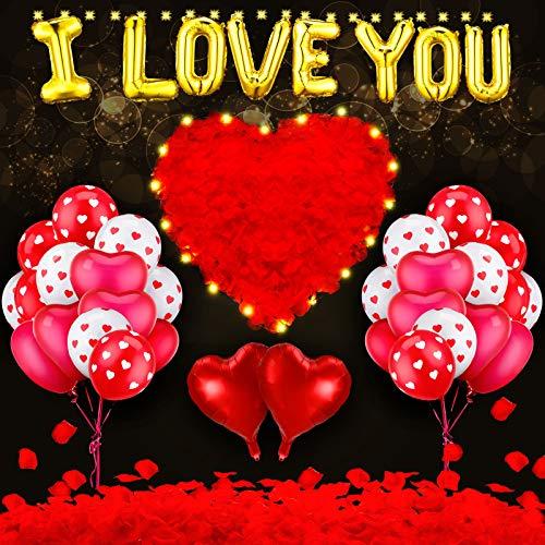 Kit de 46 Globos para Día de San Valentín Incluye Globos en Forma de Corazón Globos de I Love You 2 Luces de Hadas y 1000 Pétalos de Rosa Roja para Decoración de Fiesta de San Valentín Boda