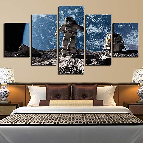 PEJHQY Astronauta Tierra Júpiter Venus Sol Luna Universo 5 Piezas Imágenes de Pared para Sala Pintura en Color Arte Decoración para el hogar Resumen 9,Cuadro en Lienzo Lanzarote