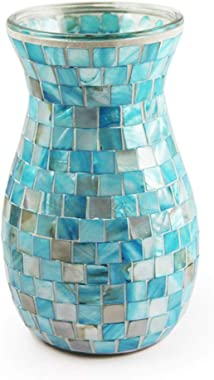 Mediterranean Blue Vase Mosaic Flower Vase,Fashion Home Living Room Dining Room Decoration Ornaments Adult Gifts