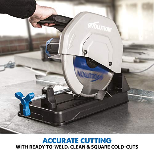 Evolution S355CPSL – Heavy Duty 14 Inch Metal Cutting Chop Saw W/ 14 Inch Carbide-Tipped Blade | Dry Cut Saw | Miter Saw 45° | Chop Saw For Cutting Metal – Accurate. Powerful. Reliable
