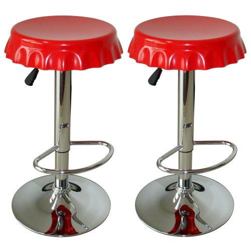 Amerihome BS107SET Soda Cap Bar Stool Set, Red, 2-Piece
