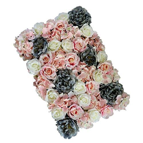 FLAMEER Künstliche Rose Wall Panels Kunstblumen Blumen Säule Wand Blumenwand Seidenblumen Seide Rosen Blütenköpfe Blumen-Köpfe Hochzeit Parteidekor - Aschepulver, 60 x 40 x 9 cm