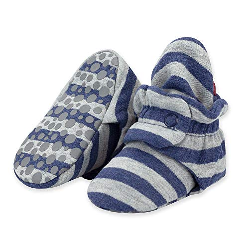 Zutano Organic Cotton Baby Booties with Gripper Soles, Soft Sole Stay-On Baby Shoes, Heather Gray & Navy Stripe, 24M