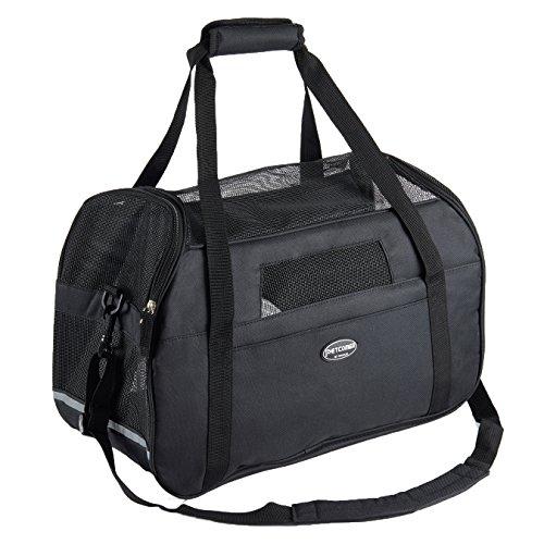 BabycarePro Transporttasche für kleine Hunde und Katzen, faltbar, Flugzeug, Schulterriemen für Welpen, Kätzchen, mit weichem Kissen, Schwarz, 41 × 29 × 20 cm