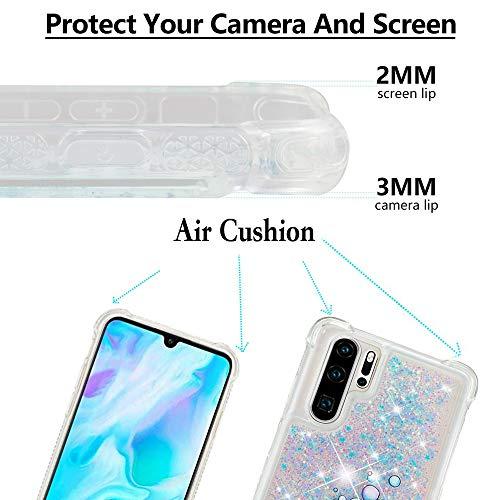 Misstars Glitzer Flüssig Hülle für Huawei P30 Pro, Bling Sparkle Treibsand Handyhülle Transparent mit Muster Elefant und Hase Design Weich TPU Silikon Stoßfest Schutzhülle - 4