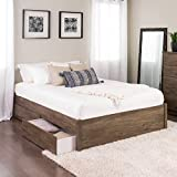 Queen Select 4-Post Platform Bed with 4 Drawers, Drifted Gray