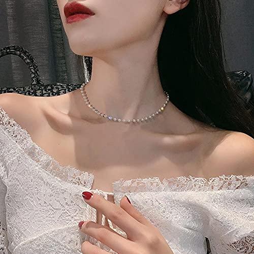 Vibner Collar Collar De Perlas De Imitación Retro Simple De Una Sola Capa Perla Fina Cadena Desnuda Collar Estético Cadena En El Cuello Oro