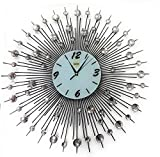 Sunburst Wall Clock Black Metal Shape with Crystals Decorative White Glass Dial 25''inch