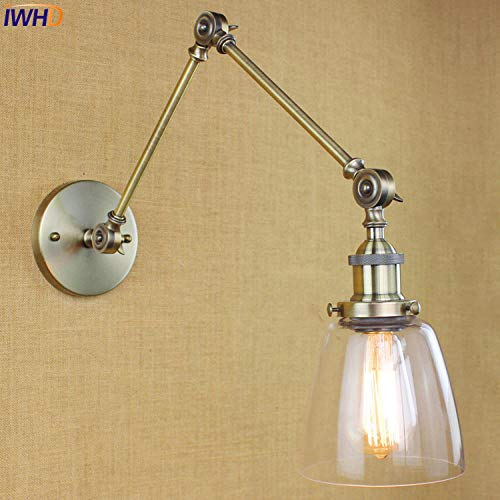 Glazen LED-wandlamp, retro, verstelbare zwaaiende lange arm @ 1_6-10W