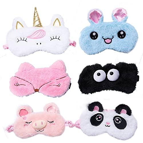 Kaimeilai Plüsch Schlafmaske, 6 Stücke Schlafmaske Kinder Augenmaske, Damen Mädche Schlafmaske 3D Süße Einhorn Schlafmaske, für Kinder Mädchen Damen Nickerchen Reisemeditation