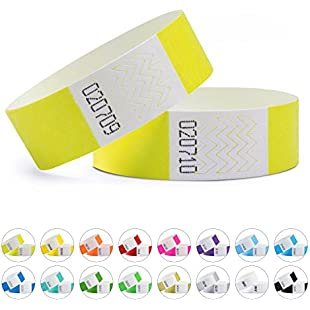 linie zwo Pack of 100 wristbands Tyvek® 19 mm, Neon yellow
