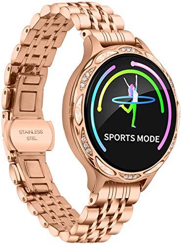 Wzmdd Smart Horloge Dames Kleur Scherm Waterdichte Hartslagmeter Calorie Stap Counter Slaap Tracker Diamond Fitness Tracker voor Vrouwen, Goud