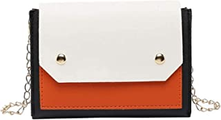 Travel Essential, Stylish and Durable Girls Rivet Small Square Bag (Color : Orange, Size : 18x3x12cm)