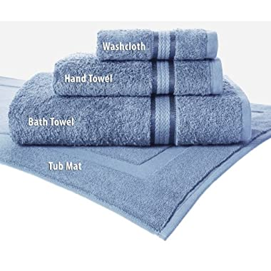 Cotton Craft Ultra Soft 6 Piece Towel Set Light Blue, Luxurious 100% Ringspun Cotton, Heavy Weight & Absorbent, Rayon Trim - 2 Oversized Large Bath Towel 30x54, 2 Hand Towel 16x28, 2 Wash Cloth 12x12