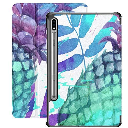 Acuarela Pintada con Colores Vivos Piñas y Lea para Samsung Galaxy Tab S7 / s7 Plus Funda Samsung Galaxy Tab A con Soporte Funda Trasera Galaxy Tab S7 Plus Funda