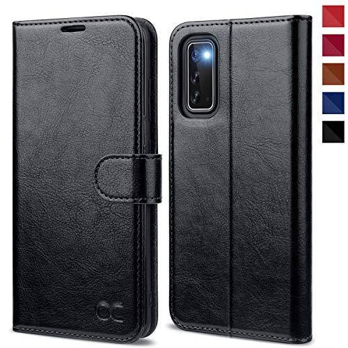 OCASE Samsung Galaxy S20 Hülle Handyhülle [Premium PU Leder] [Standfunktion] [Kartenfach] [Magnetverschluss] Tasche Cover Etui Schutzhülle lederhülle flip case für Samsung Galaxy S20 Schwarz