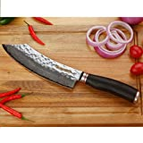 YOUSUNLONG Metzgermesser 8-Zoll (20.50cm) Japanischer Ebenholz Blockmesser Japanischer VG10-Griff aus gehämmertem Damaststahl aus natürlichem Ebenholz aus Holz mit Lederscheide - 2