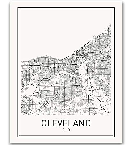 Cleveland Poster Map of Cleveland Cleveland Map City Map Posters Modern Map Art City Prints Cleveland Art Minimal Print Ohio Art City Poster City Map Wall Art Minimalist Posters 8x10