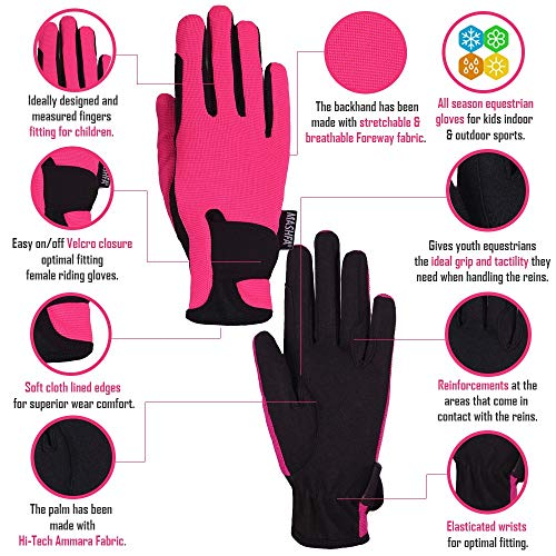 Mashfa Kids Horse Riding Gloves Children Equestrian Gloves Boys & Girls Pony Riding Gloves Youth Riding Outdoor Mitts (Pink, Age 12-14 Years)