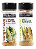 3.6 -oz. Chile Lime and 2.7 -oz. Chipotle Parmesan seasoning Chipotle Parmesan Corn on the Cob Seasoning is an all-natural, slightly spicy blend of chipotle peppers, parmesan cheese, salt and garlic Spicy Chili Lime Corn on the Cob Seasoning is an al...
