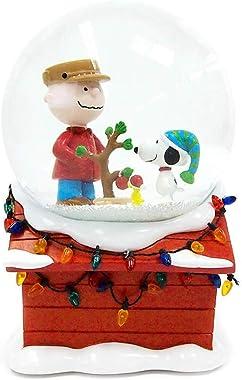 "Department 56 Peanuts Christmas Musical Globe Waterball, 7"" Snowglobe, Multicolor"