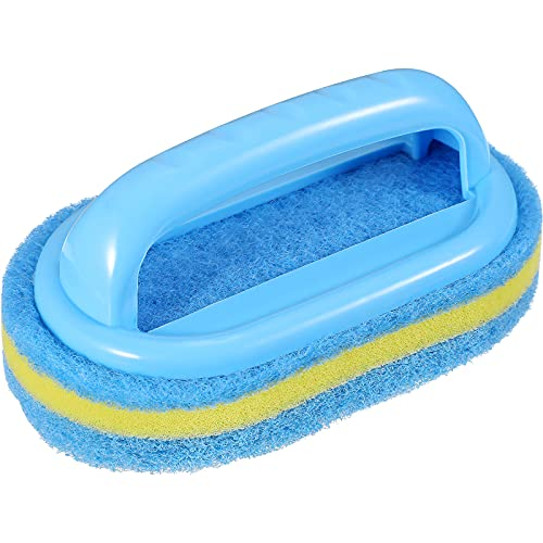 Cleaning Sponge Brush Household Cleaning Supplies Plastic Handle Sponge Brush Bathroom Bathtub Brush Multipurpose Cleaning Sponge Scrubber with Handle for Bathroom Kitchen Tile Toilet Quick Cleaning