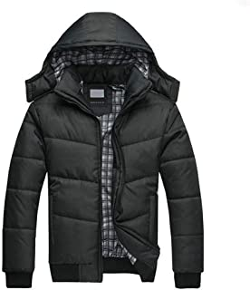 EISHOW Mens Warm Winter Hoodie Down Puffer Cotton Jacket Removable Hooded Lightweight Thicken Zipper Parka Outwear Coat