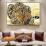 ZSEWQ Dekorative Gemälde kein Rahmen Leinwand Gemälde Poster Goldener Gepard und Druck-Moderne Tier-dekorative Wand-Leopard-Segeltuch-Malereien für Wohnzimmer-Dekor