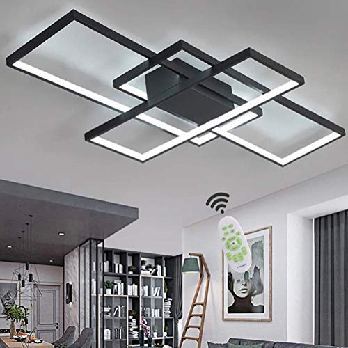 WohnzimmerLampe LED Deckenleuchte Dimmbar Deckenlampe 80W Modern Eckig Design Decke Lampe Aluminium Lampenschirm Pendelleuchte Wohnzimmer Lampen Schlafzimmerlampe Esszimmerlampe Küchelampe (Schwarz)