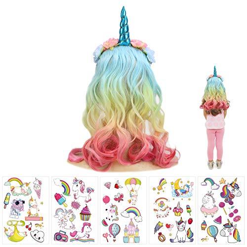 JOOPOM Einhorn Haarreif Mädchen, Kinder Haarreif mit Perücke Regenbogen Stirnband Einhorn Cosplay Kostüme Haarschmuck für Karneval Einhornparty Kindergeburtstag Ostern