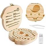 Caja para guardar dientes para niños y niñas, Regalo para niños en madera de souvenir, Acumulación de dientes (Niño)