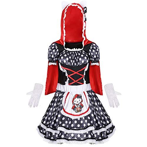 CGBF - Disfraz de caperucita roja para mujer, disfraz de Halloween, vestido con capucha y guantes, negro, talla única