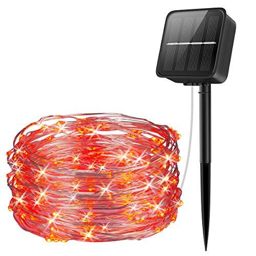 Criacr Luci a corda, 100 LED 8 modalità Luci solari da giardino, 33ft / 10m Decorazione impermeabile Luci solari in filo di rame per patio, cortile, alberi di Natale, matrimonio, festa (rosso)