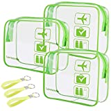 3pcs Lermende Clear Makeup Bag, TSA Approved Toiletry Bag & Cosmetic Bag for Women With Zipper Handles, Quart Size Carry On Clear Make up Bags Airport Compliant Toiletries For Travel - Green