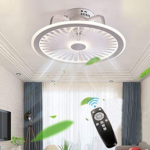Deckenventilatoren Mit Beleuchtung, Mit Fernbedienung Dimmbar, Dimmbarer Windgeschwindigkeit 40W Moderne LED Deckenleuchte Leise Ventilator Pendelleuchte Für Schlafzimmer Wohnzimmer Büro Lampe (White)