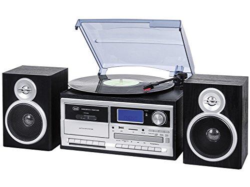 Trevi TT 1070 E Bluetooth stereo platenspeler met encoding, MP3-speler, CD, USB, AUX-In, SD, musicassette, radio AM/FM zwart.
