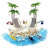 Casa de muñecas en miniatura Accesorios Beach Decoración del paisaje de la playa Micro con tumbonas Parasoles de la palmera para el verano 18PCS casa de muñeca Accesorios