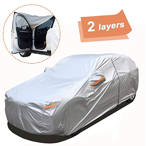 """SEAZEN Car Cover with Zipper,2 Layer Full Car Covers Waterproof All Weather,UV Protection Snowproof Dustproof,Universal Car Cover (Fit SUV Jeep-Length 191"""" to 200"""")"""