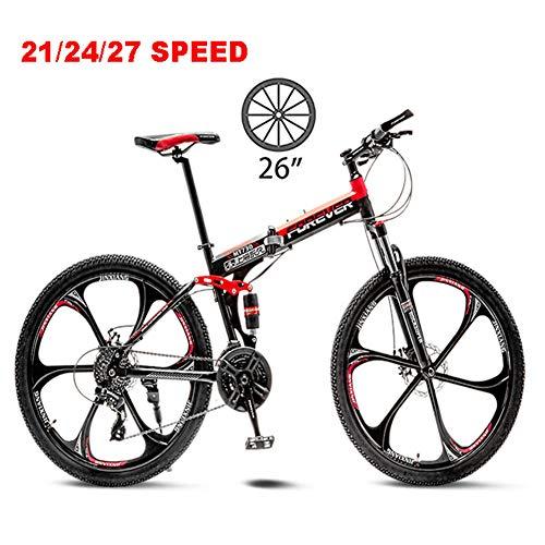 NYANGLI Faltbare Trekking Fahrrad Cross Trekkingräder, 26 Zoll MTB Erwachsener Land Gearshift Stahl-Rahmen Fahrrad,Hardtail Mountainbike Mit Verstellbarem Sitz 6 Cuttern,Rot,21speed