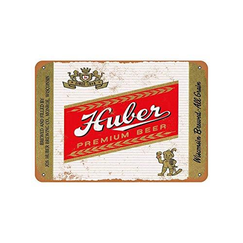 Lplpol Aluminum Sign, Huber Beer Vintage Look Metal Sign, Public Sign, Street Decoration Sign, 10x14 Inches