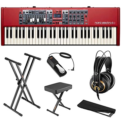 Nord Electro 6D 61-Note Stage Piano Semi-Weighted Keyboard Bundle with AKG K240 Headphone, Keyboard Stand, Piano Bench, Sustain Pedal & Dust Cover