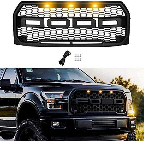 Motorium Front Grill for F150 2015 2016 2017, Including XL, XLT, LARIAT, Raptor, King Ranch, Platinum and Limited, Raptor Style Grill for Ford, Matte Black