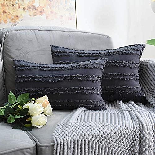eewopjkj 2PCS Cojines Decorativos de algodón y Lino Fundas de Cojines con diseño de borlas Funda sólida para el hogar para sofá Silla Coche sofá Dormitorio Fundas de Almohada Decorativas Gris