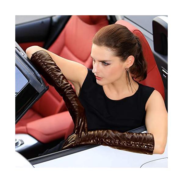 Women's Touchscreen Long Elbow Length Winter Thick Fleece Lined Gloves Buttons Touchscreen 4