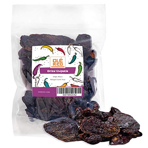 Dried Chipotle Chiles Peppers 4 Oz, Great For Mexican Recipes, Salsas, Mole, Meats, Chilis, Stews, Soups, And Tamales - Medium Heat, Packaged In Resealable Bag By Ole Rico