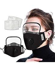 Skang 4xReutilizables Protector Facial con Válvulas de Respiración + Retirable Gafas Protectoras+2xFiltros de Carbón Activo para Hombres Mujeres